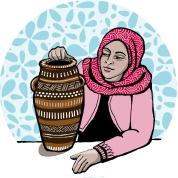 pottery woman circular